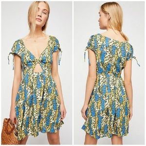 Free People Miss Right Green Floral Cutout Dress